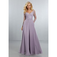 Morilee Bridesmaids 21561 Long Sleeve Chiffon Bridesmaid Dress