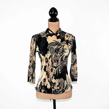 Asian Top Women XS Small Mandarin Collar Frog Buttons Black Beige Print Blouse Crinkle Top 3/4 Sleeve Vintage Clothing Womens Clothing