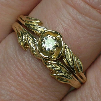 Vintage Wedding Ring Set: Northwest style Leaves. Retro 70s/80s Solitaire
