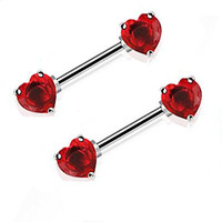 14g Pair of Nipple Bar Shield Ring Straight Basic Bar Large Heart Gems Forward Facing (Red)