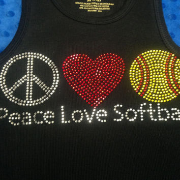 Softball Rhinestone Tank Top