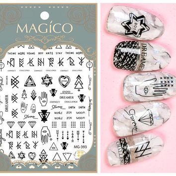 Newest 3d nail art sticker MAGICO nail-31W Hipster Decals Tool DIY Nail Decoration Tools