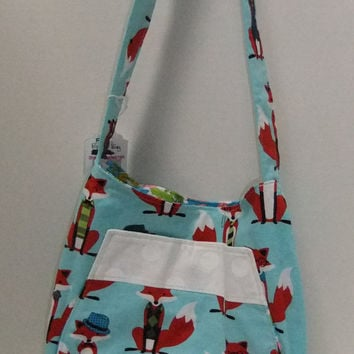 Fox purse - Bucket Bag - Turquoise with foxes