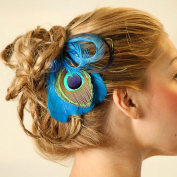 Turquoise Peacock Feather Hair Clip Fascinator by ashleigh1954