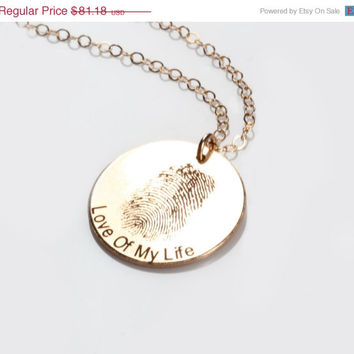 Gold Fingerprint Engraved Disc Necklace, Custom, Personalized, Engraved, Valentines day, Anniversary