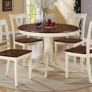 Poundex F2390-1351 5 pc erin i collection cream finish wood legs and cherry finish wood tops round dining table set with wood top seats