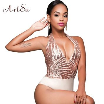 ArtSu 2017 Party Elegant Sequin Bodysuit Women Sexy V Neck Bodycon Jumpsuit Backless Romper Bodycon Playsuit Macacao ASJU20033