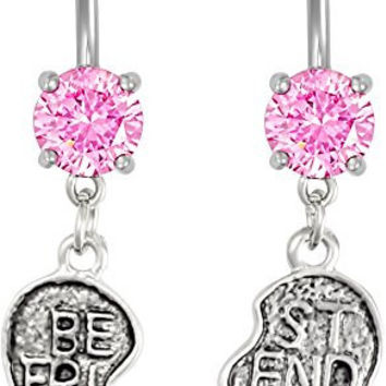 14g Surgical Steel Set of Best Friend Matching Pink Jeweled Heart Belly Button Rings
