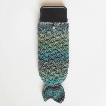 Mermaid Tail iPhone 6 Cozy in Teals, Merino Wool, ready to ship.