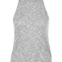 PETITE Ribbed '70s High Neck Top - Grey Marl