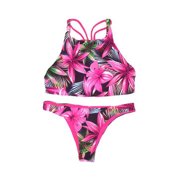 Reversible Crisscross Tie Back High-Neck Crop Top Hot Pink Floral Brazilian Cut Bikini