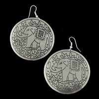 Round Elephant Earrings