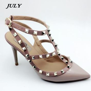 JULY Brand Women Pumps Wedding Shoes Woman High Heels Nude Fashion Ankle Straps Rivets Shoes Sexy  Bridal Shoes Size 33-41