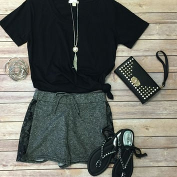 Terry & Lace Shorts: Dark