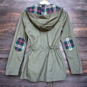 womens plaid hooded military parka jacket - olive green