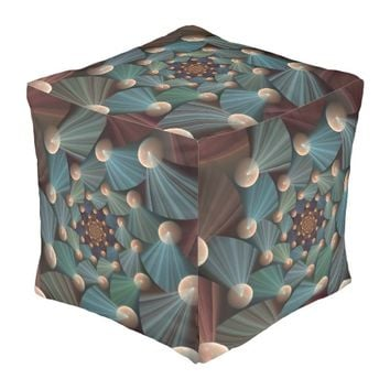 Modern Fractal Art With Depth, Brown, Slate, Blue Pouf