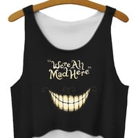 We Are All Mad Here Print Sleeveless Cropped Top