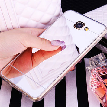 Plating Mirror Soft Back Cover For iPhone Samsung Galaxy A5 A7 A8 A310 A510 J5 J7 S4 S5 S6 S7 Edge 5S SE 6 6S 7 Plus Phone Cases