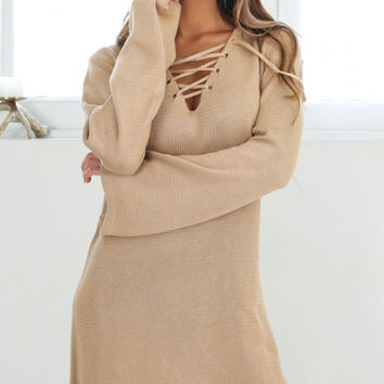 Lace-Up Long Sleeve Sweater Dress