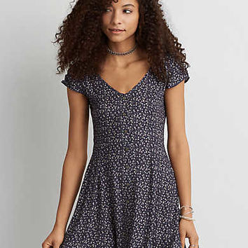 AEO Button Front Shirtdress, Blue