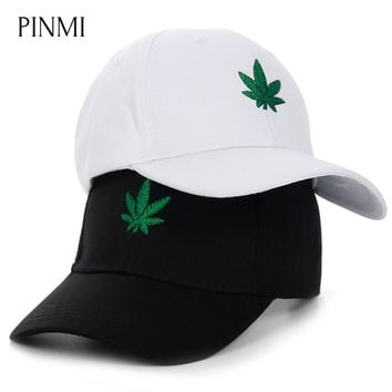 PINMI 2018 Embroidery Hemp Leaf Snapback Caps Men Leisure Black Baseball Cap Women Cotton Sun Hat Women Dad Hats Cap Couple Bone