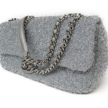 CHANEL CC Chain shoulder flap glitter bag Leather Silver