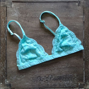 A Lace Bralette in Aqua