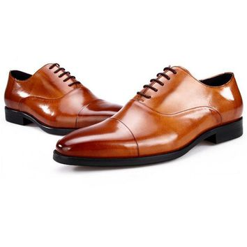 Men Genuine Leather Dress Shoes Men Oxfords Shoes Formal