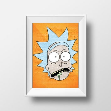 Rick and Morty Poster, Movie Poster, Cartoon Art, Adult Swim, Rick Sanchez