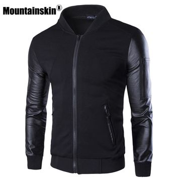 Mountainskin Bomber Jacket Men's Coats Patchwork Leather Men Outerwear Autumn Slim Fit 2018 Brand Male Motorcycle Jackets SA003