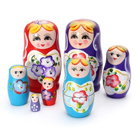 5 Piece Russian Wooden Doll Set Hand Painted Nesting Matryoshka Toy Decor Gift = 1945799236