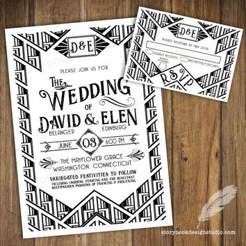 Great Gatsby Black and White Wedding Invitation Set