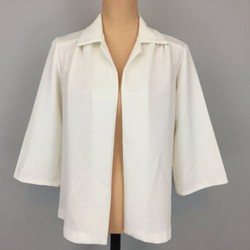 White Jacket White Blazer 80s Jacket Minimalist Clothing Hipster Jacket 3/4 Sleeve 1980s Clothing Large Jacket XL Womens Vintage Clothing