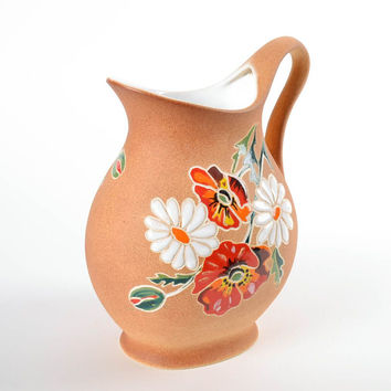 Broad handmade porcelain ceramic water pitcher kitchen decorating ideas gift