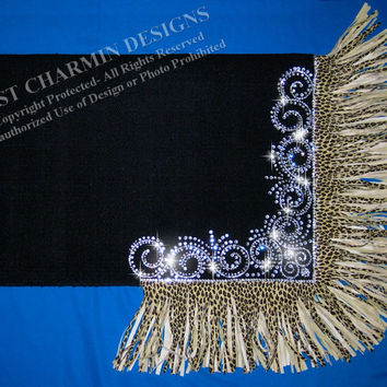 JCD- Just Charmin Designs- Custom Cheetah Fringe Crystal Bling Horse Show Saddle Blanket Pad 4-Western Shirt Rodeo Showmanship Barrel Racing