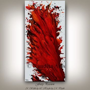 ART ON SALE Modern Red Wall Art, Oil Painting Original Hand Made Impasto, Contemporary Art Expressionism, Wall Art Decor, Wall Hanging