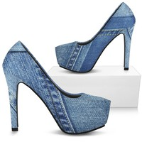 Denim Print Woman's High Heel Shoes
