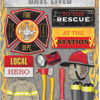 "Firefighter Cardstock Stickers 5.5""""X9"