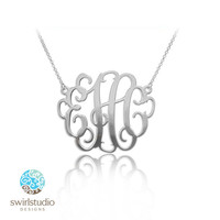 1.25 Inch Monogram Necklace in Sterling Silver 0.925 - Personalized Initials Pendant