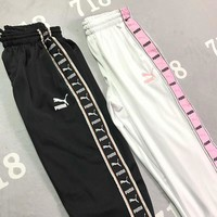 PUMA 2018 new series of couples College retro style sweat pants F-XMCP-YC