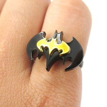 Batman Bat Shaped Silhouette Logo Adjustable Ring in Yellow on Black