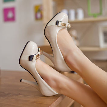 Knot Women Platform Pumps High Heels Black|Beige Spike Shoes Woman