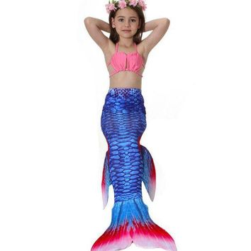 ESBON Fashion 13 Colors Baby Girls Mermaid Tail Cosplay Children Swimsuit Swimwear Mermaid Bikini Set Girls Costume