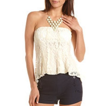 Lace Peplum Tube Top: Charlotte Russe