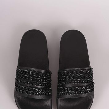 Bamboo Leather Chain Embellished Open Toe Slide Sandal