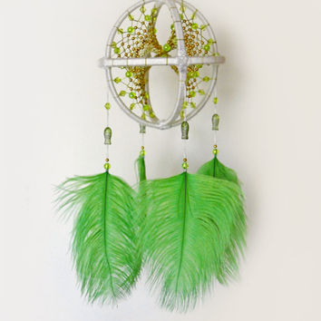 Lime green beaded dream catcher, Boho 3D dreamcatcher mobile with feathers, Bohemian bedroom, Ceiling hanging decoration, Ethnic home decor