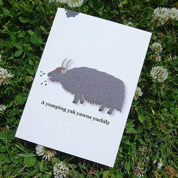 Yak greeting card, this adorable hand-illustrated animal card comes complete with tongue-twisting alliterative phrase