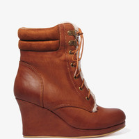 Faux Shearling Wedge Boots