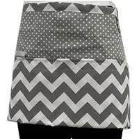 Cute Chevron Polka Dot Women's Craft Kitchen Waist Zipper Pocket Apron Black Hot Pink or Gray