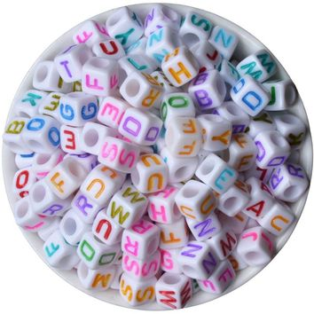 Alphabet Beads 200PC 6x6mm Beads Acrylic Letters Children Education DIY Bracelet Beads / 35 color choices